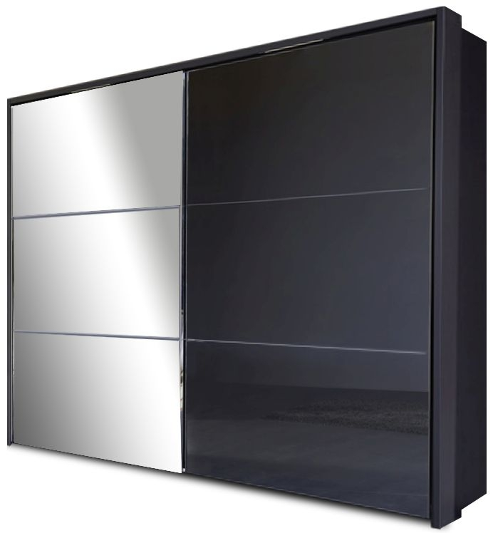 Nolte Velia 3 Version 2A Graphite with White High Gloss and Graphite Glass 2 Door Sliding Wardrobe with Pelmets and Lighting Passe Partout - W 180cm