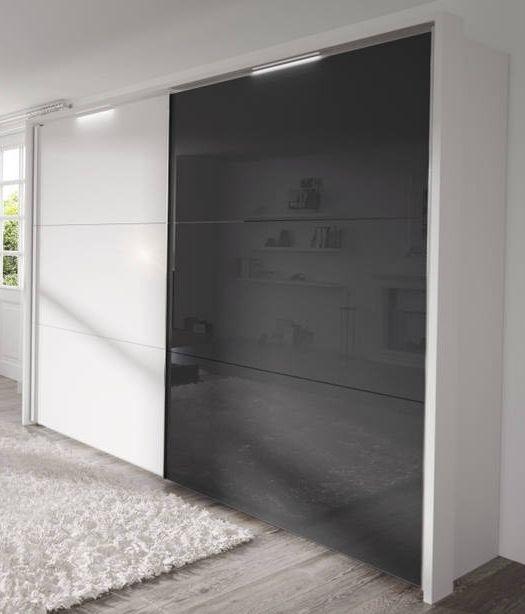 Nolte Velia 3 Version 2A Polar White with White High Gloss and Graphite Glass 2 Door Sliding Wardrobe - W 180cm