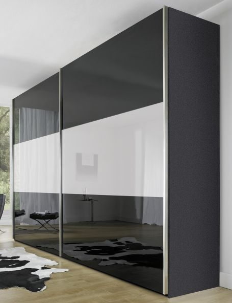 Nolte Velia 3 Version 2B Graphite with White High Gloss and Graphite Glass 2 Door Sliding Wardrobe - W 180cm