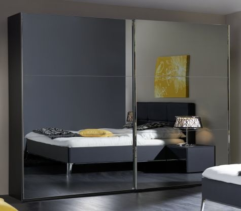 Nolte Velia 3 Version 3A Graphite with Grey Mirror 2 Door Sliding Wardrobe - W 240cm