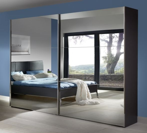 Nolte Velia 3 Version 3B Graphite with Grey Mirror 2 Door Sliding Wardrobe - W 160cm