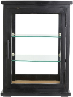 NORDAL Arno Black Mango Wood 1 Door Display Cabinet