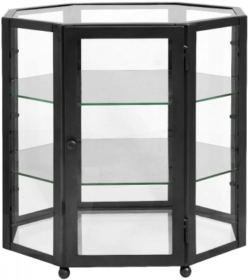 NORDAL Black Octangle 1 Door Glass Display Cabinet