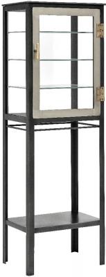 NORDAL Black 1 Door Tall Glass Display Cabinet