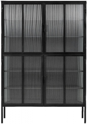 NORDAL Groovy Black and Clear 4 Door Display Cabinet