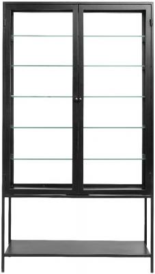 NORDAL Mondo Black and Glass 2 Door Display Cabinet