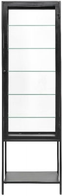 NORDAL Mondo Black 1 Door Glass Display Cabinet