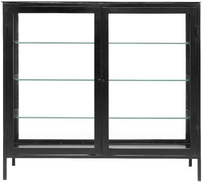 NORDAL Mondo Black and Glass 2 Door Wide Display Cabinet