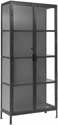 NORDAL Phoenix Black and Glass 2 Door Display Cabinet