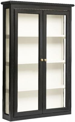 NORDAL Classic Black Mango Wood 2 Door Wall Display Cabinet