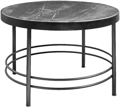 NORDAL Midnight Grey Marble Round Coffee Table
