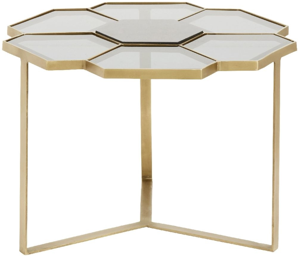 NORDAL Black Glass and Gold Flower Coffee Table