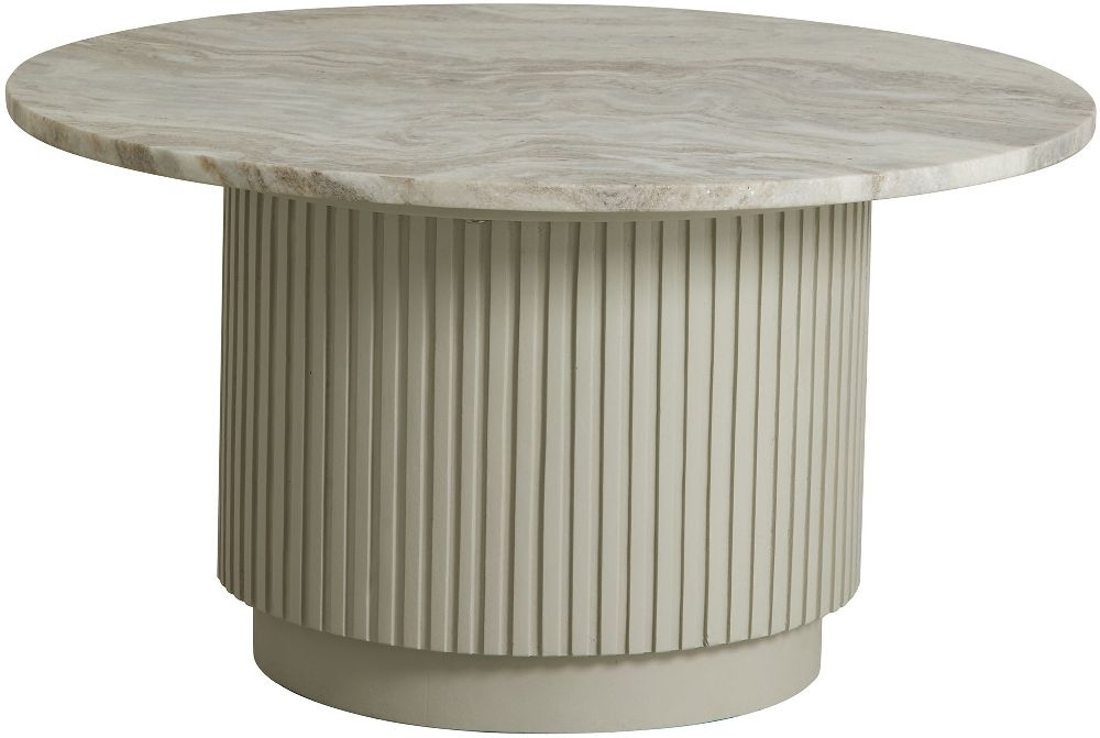 NORDAL Erie White Marble Small Round Coffee Table