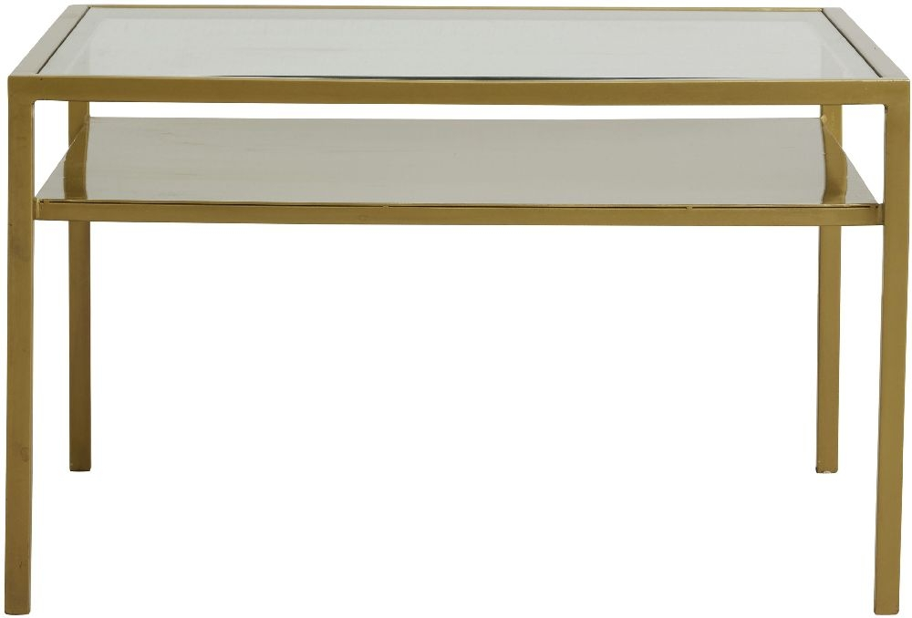 NORDAL Etne Glass and Gold Coffee Table