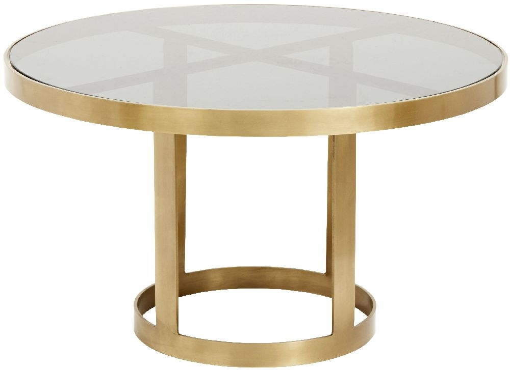 NORDAL Luxury Black Glass and Gold Round Coffee Table