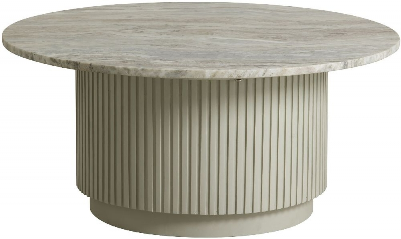 NORDAL Erie White Marble Large Round Coffee Table