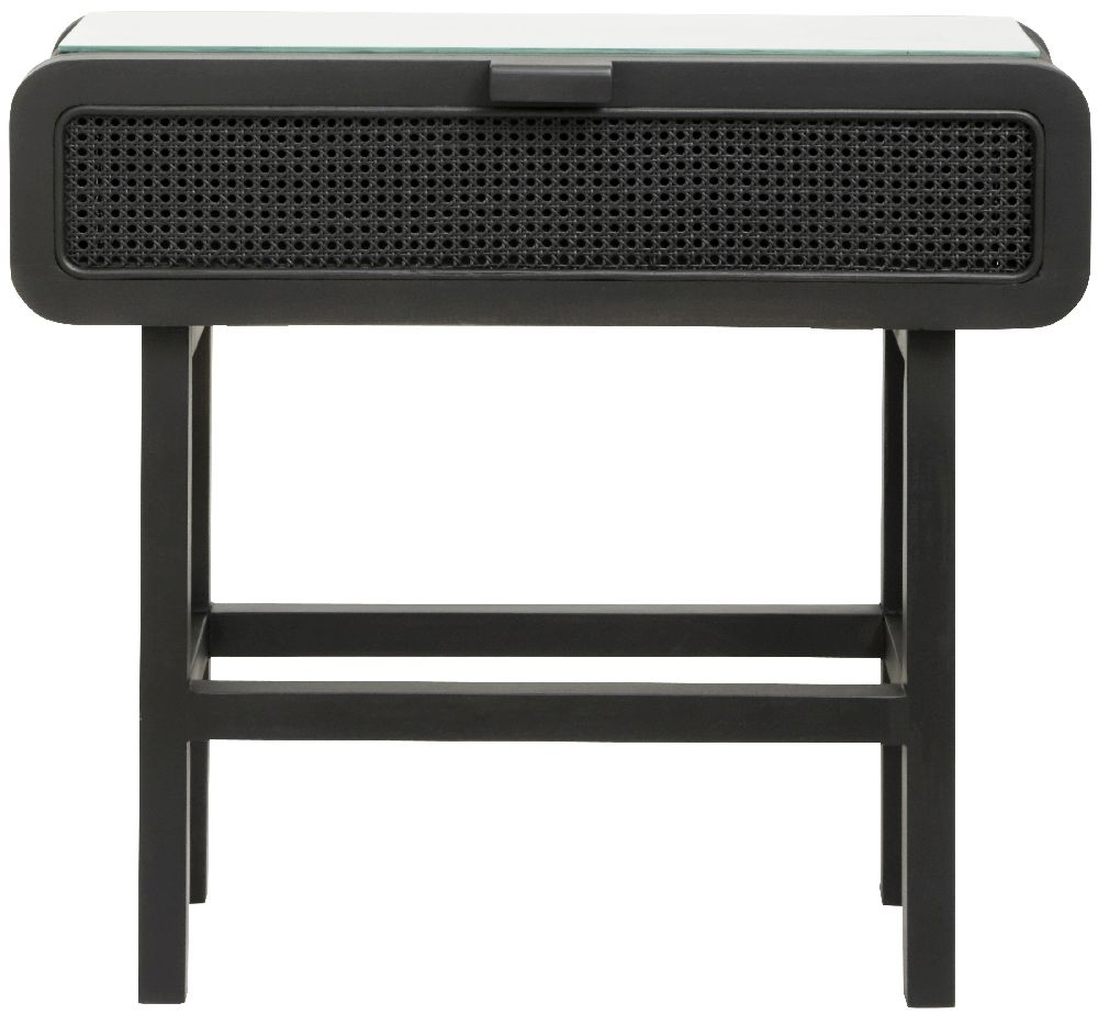 NORDAL Merge Black Rattan Console Table with Glass Top