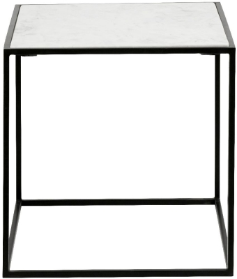 NORDAL Cube White Marble Side Table