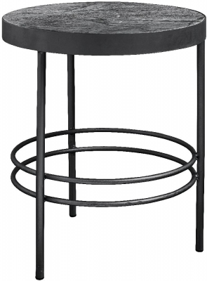 NORDAL Midnight Grey Marble Round Side Table