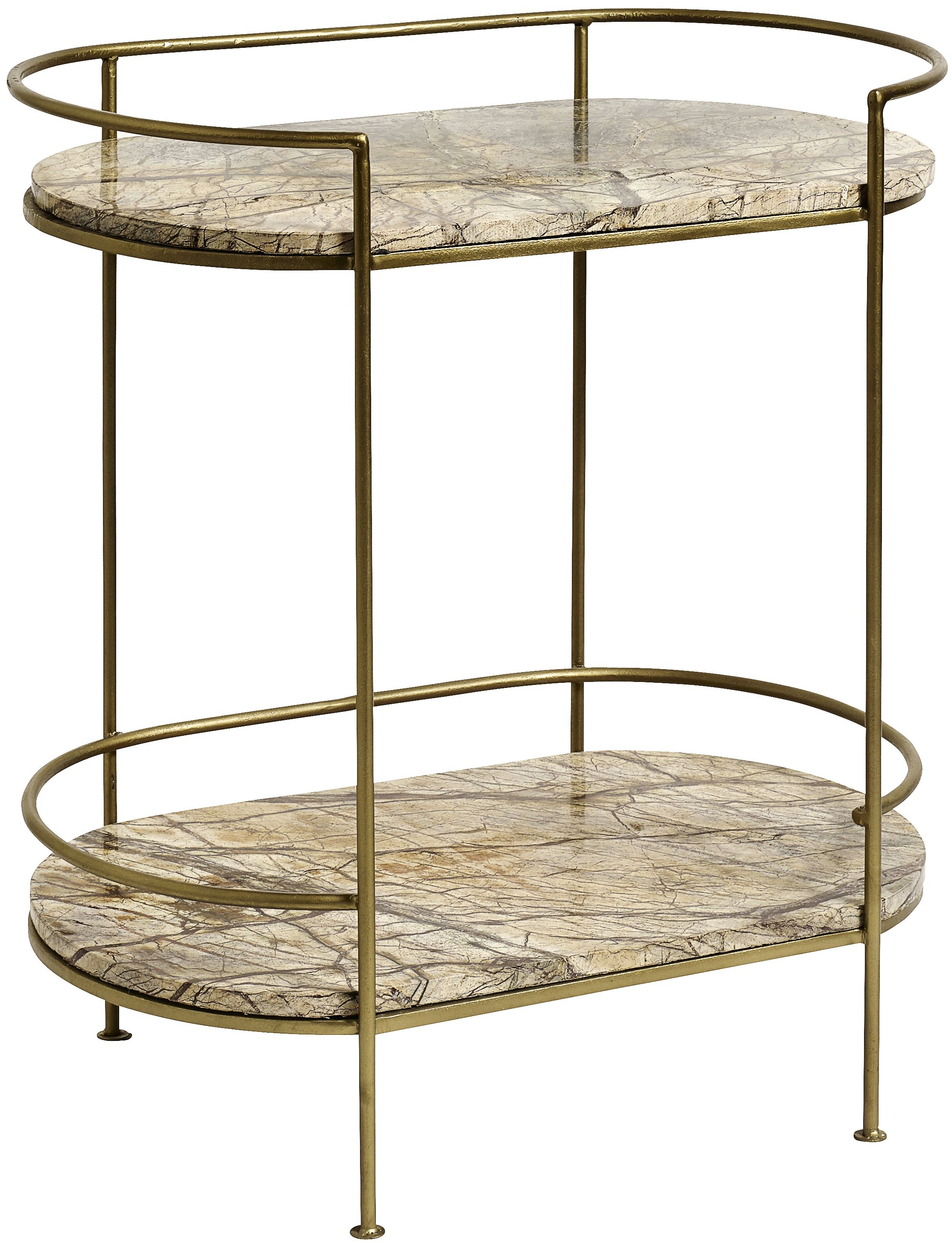 NORDAL Jungle Beige Marble Oval Side Table