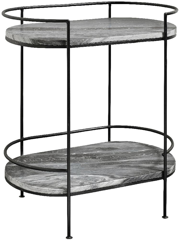 NORDAL Midnight Grey Marble Oval Side Table