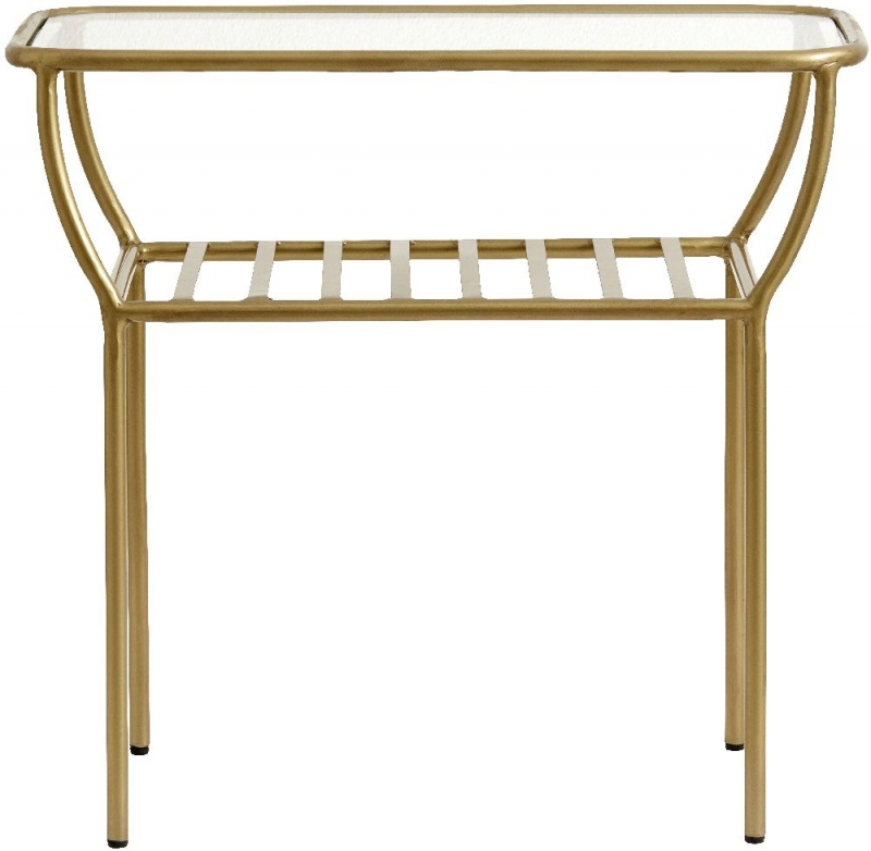 NORDAL Chic Gold and Glass Side Table
