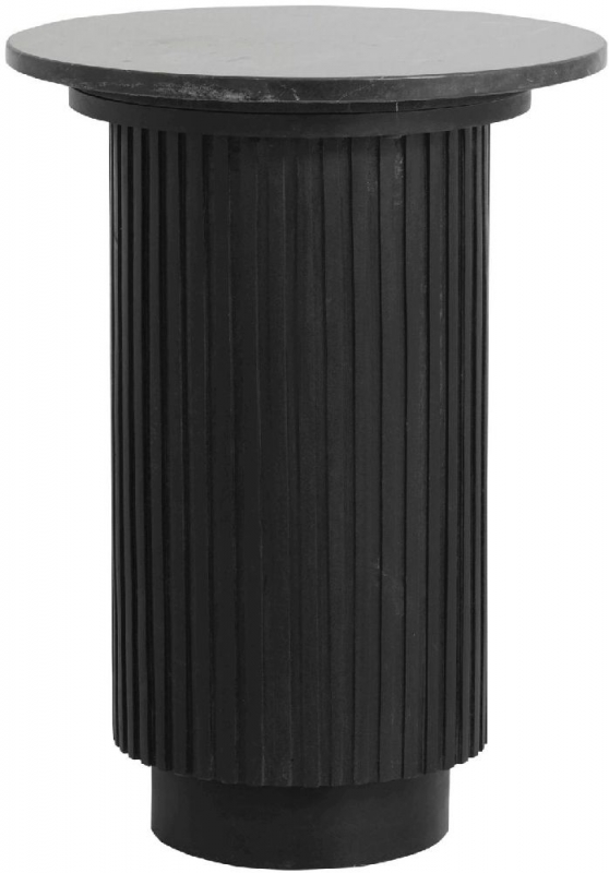 NORDAL Erie Black Marble Round Side Table