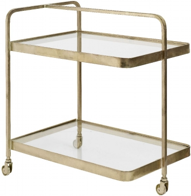 NORDAL Gold and Glass Trolley Table