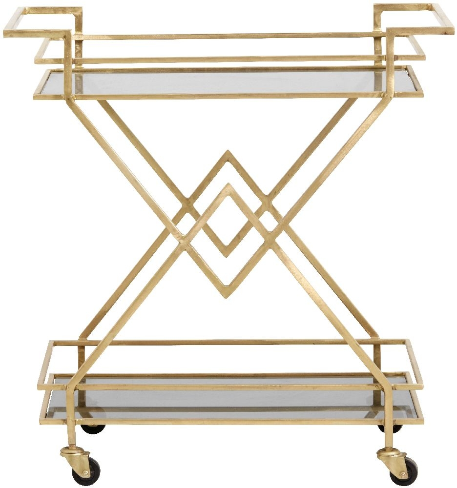 NORDAL Gold and Black Glass Trolley Table