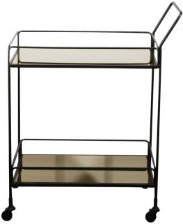 Notre Monde Dixon Bronze Mirror 2 Shelves Rectangular Bar Cart