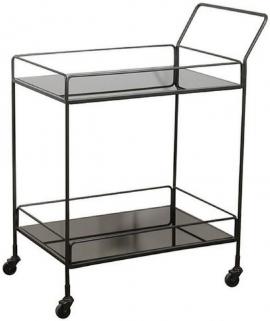 Notre Monde Dixon Charcoal Mirror 2 Shelves Rectangular Bar Cart