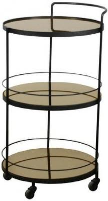 Notre Monde Lucy Bronze Mirror 3 Shelves Round Bar Cart