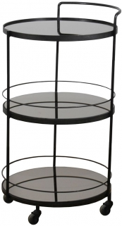 Notre Monde Lucy Charcoal Mirror 3 Shelves Round Bar Cart