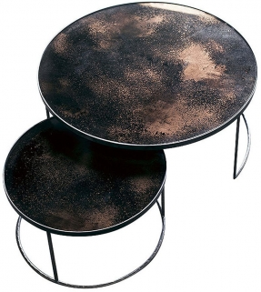 Notre Monde Bronze Heavy Aged Mirror Round Nesting Coffee Table Set