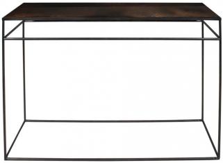 Notre Monde Bronze Copper Leaf Heavy Aged Mirror Rectangular Console Table