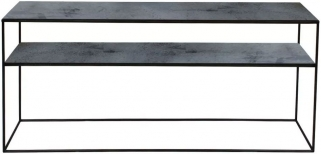 Notre Monde Charcoal Heavy Aged Mirror Rectangular Sofa Console Table