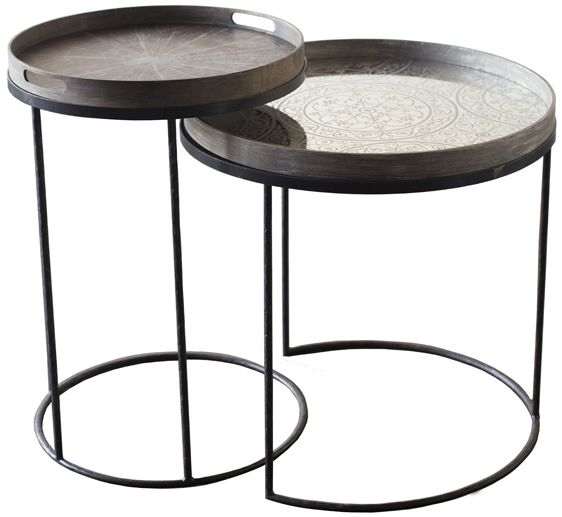 Notre Monde High Round Tray Table Set