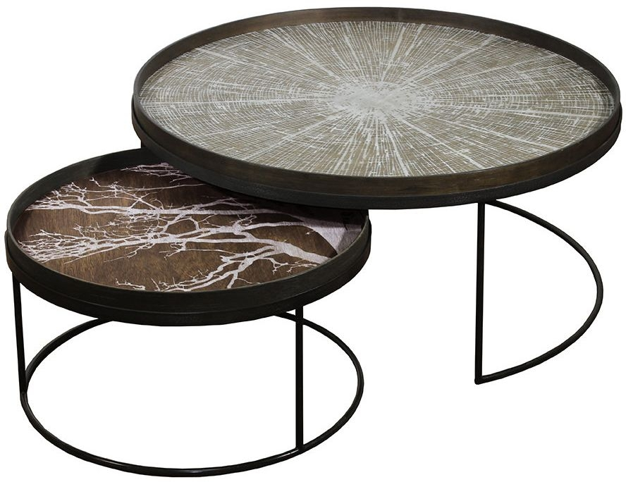 Notre Monde Extra Large Low Round Tray Table Set
