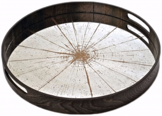 Notre Monde Slice Small Round Light Aged Mirror Tray