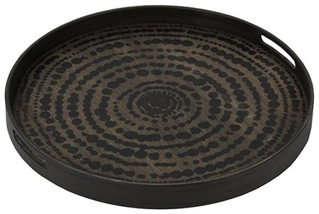 Notre Monde Black Beads Small Round Driftwood Tray