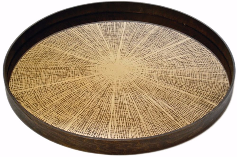 Notre Monde Bronze Slice Large Round Mirror Tray