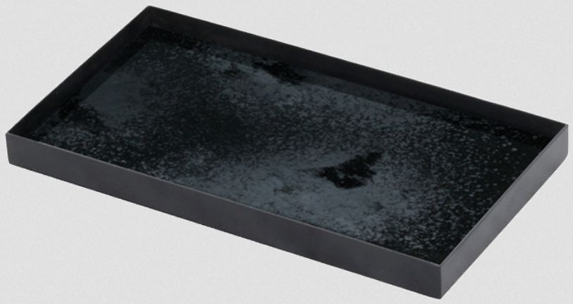 Notre Monde Charcoal Heavy Aged Black Metal Rim Medium Rectangular Mirror Tray (Set of 5)