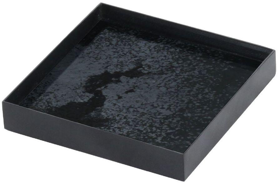 Notre Monde Charcoal Heavy Aged Black Metal Rim Small Mirror Tray (Set of 5)