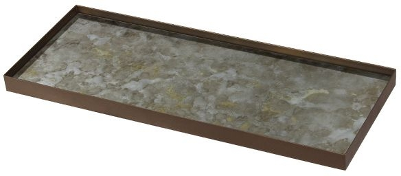 Notre Monde Fossil Organic Metal Rim Large Rectangular Mini Glass Tray (Set of 5)
