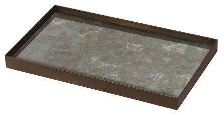 Notre Monde Fossil Organic Metal Rim Medium Rectangular Mini Glass Tray (Set of 5)