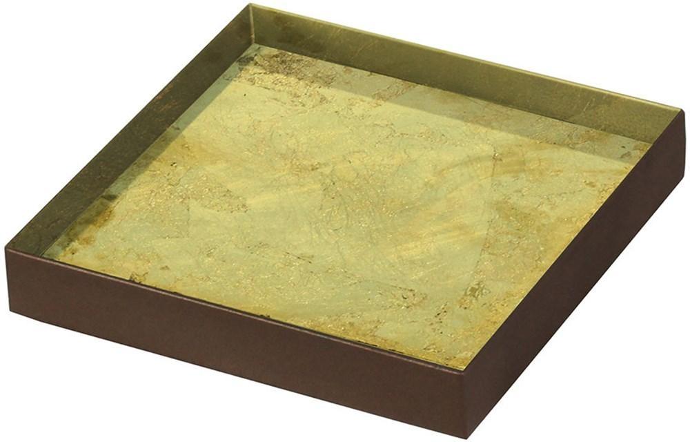 Notre Monde Gold Leaf Metal Rim Small Mini Glass Tray (Set of 5)