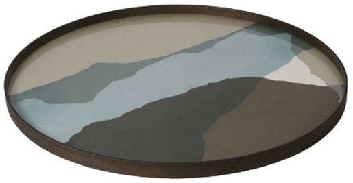 Notre Monde Graphite Wabi Sabi Extra Large Round Glass Tray
