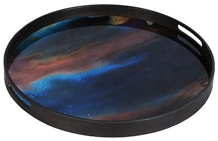 Notre Monde Indigo Organic Small Round Glass Tray