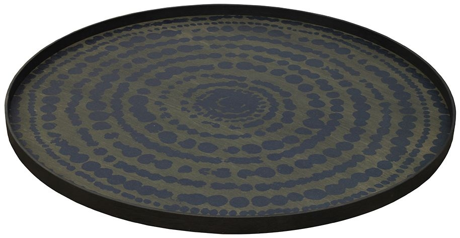 Notre Monde Midnight Blue Extra Large Round Stained Beaded Tray
