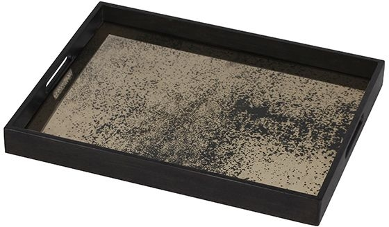 Notre Monde Bronze Small Rectangular Heavy Aged Mirror Tray